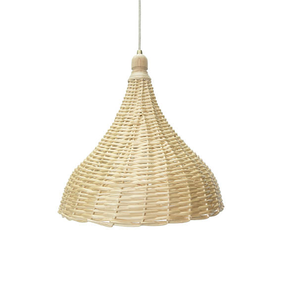 A cone shaped, Handmade Wicker Pendant by RevealHome, on Etsy. - $187 and up. Made in Greece.