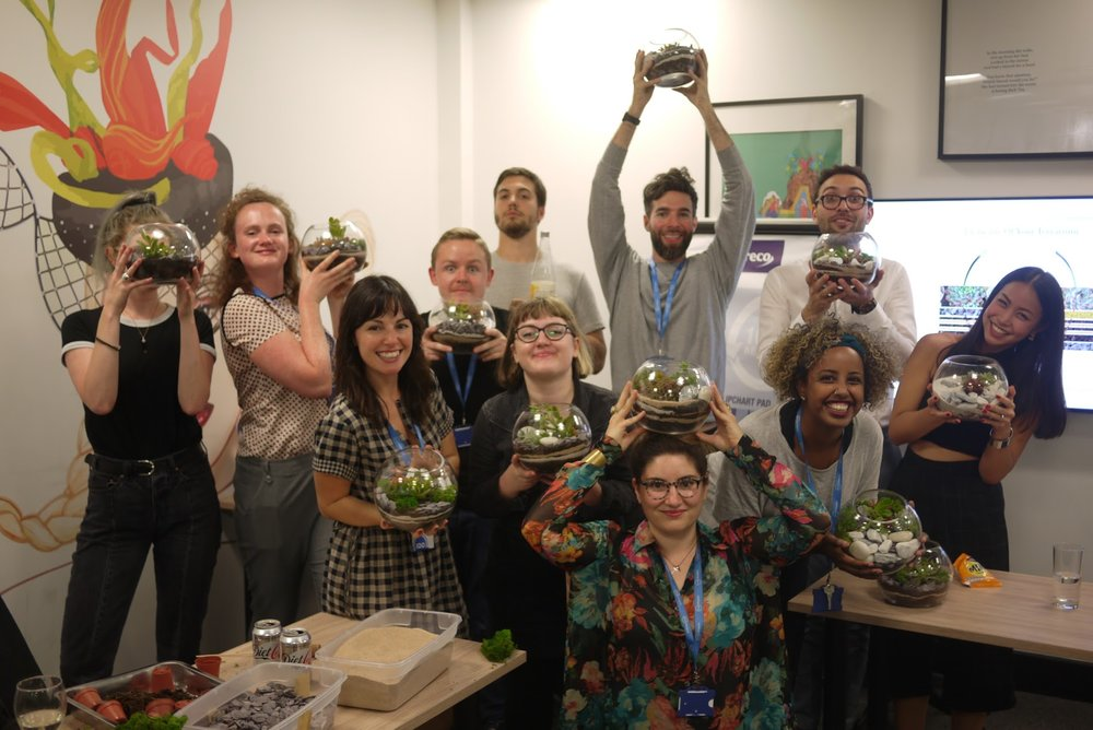 The 100Shapes team and their terrariums.