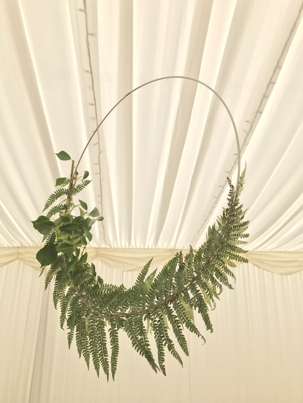 Hanging displays at a wedding.