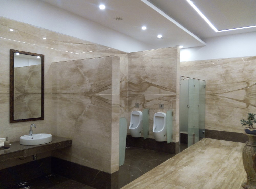 Toilets at the entrance of the hotel