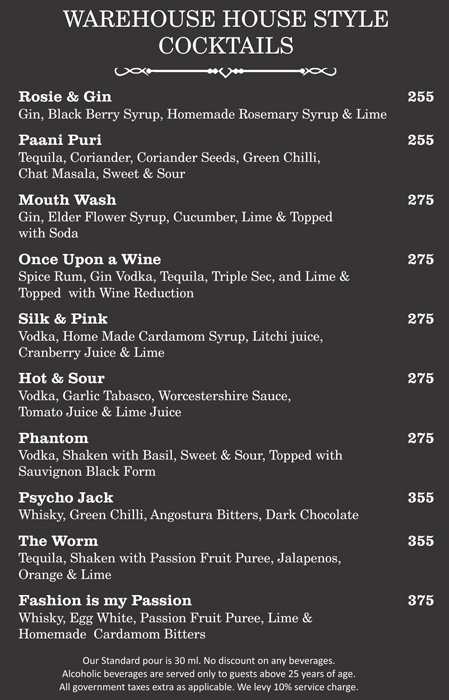 Warehouse Cafe Menu Connaught Place 1