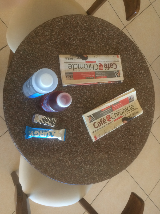 One Water Bottle, One Pomegranate Juice, One box chewing Gum, One Nutritious Chocolate