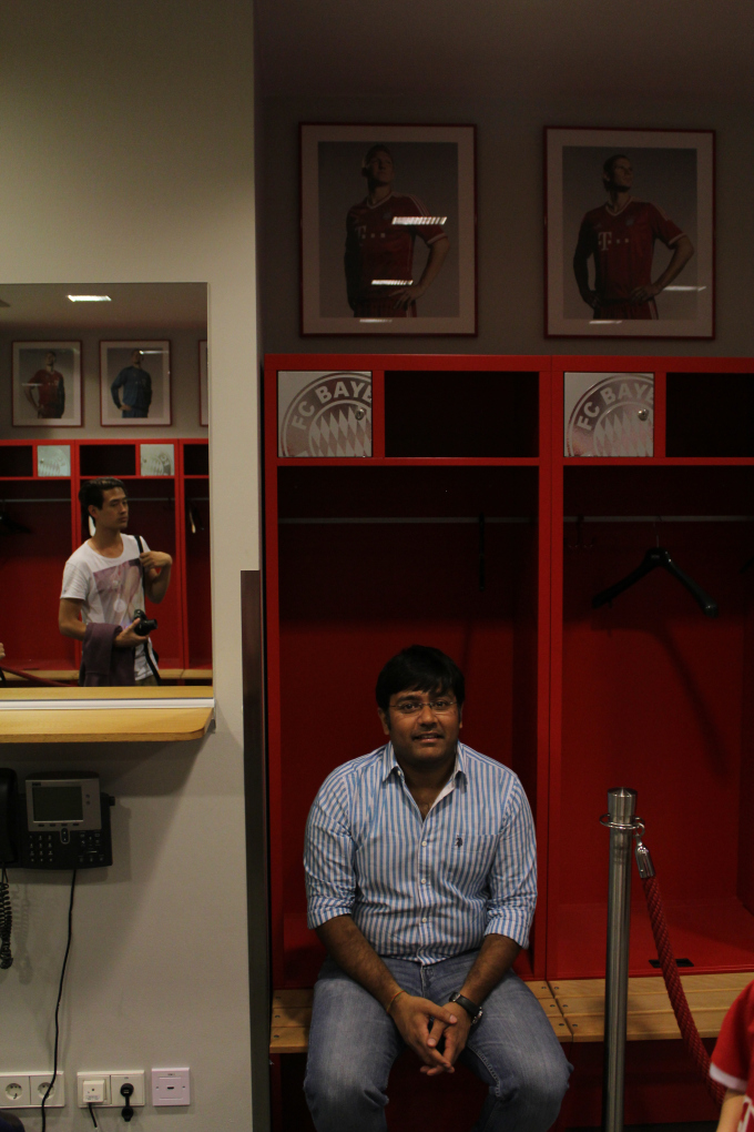 Inside the players' dressing room