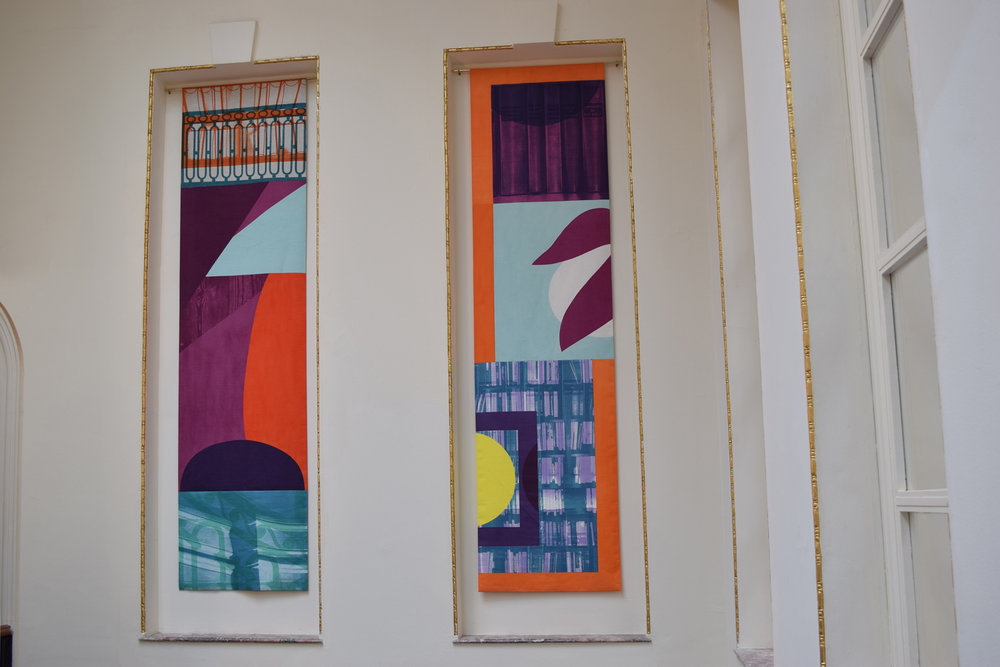 The finished wall-hangings in-situ at the British Academy in London. -