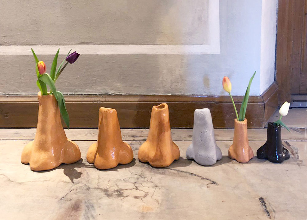 Blumennase 13-18, 2019   Nose Vase - Terracotta, transparent glaze Left to right: 23 x 19.5 x 11.5 cm (9 x 8 x 5 in) 19 x 14 x 9 cm (8 x 6 x 4 in) 18.5 x 15.5 x 10.5 cm (7 x 6 x 4 in) 16.5 x 12 x 8 cm (7 x 5 x 3 in) 13 x 8 x 6 cm (5 x 3 x 2 in) 12 x 10.5 x 6.5 cm (5 x 4 x 3 in)