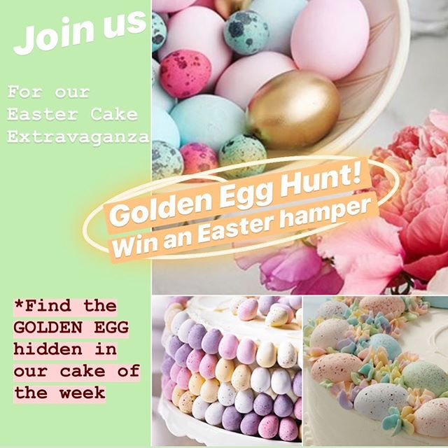 Join in our Special Easter Cake Extravaganza **Golden Egg Hunt!** Simply find one of the GOLDEN EGGS hidden in each of our Cake of the Weeks, over the next 4 weeks & go into the draw to: Win our Sweet Easter Hamper!! 💖💚🐰🧡🐣🧁🍰🎉 It doesn't get much sweeter than that! . . . . . #melbourne #cakelovers #cake #sweets #cakesmash #melbournecakes #eastercake #melbcakes #eatingfortheinsta #goldenegg #instapic #buzzfeedfood #feedfeed #easteregg #easteregghunt #foodstagram #easterhunt #instayum #foodporn #easter #goodfood #melbournerestaurants #melbournecafe #foodie #melbournefoodie