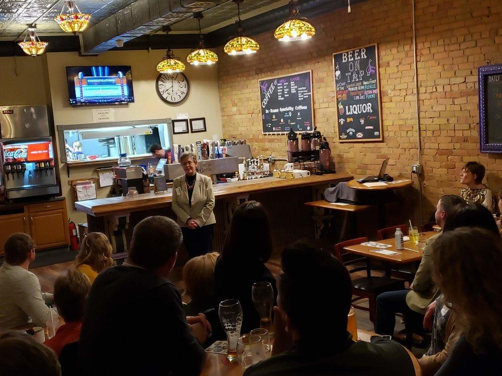Karen Lauer speaks to the Leadership Barnesville graduating class at the Purple Goose restaurant.