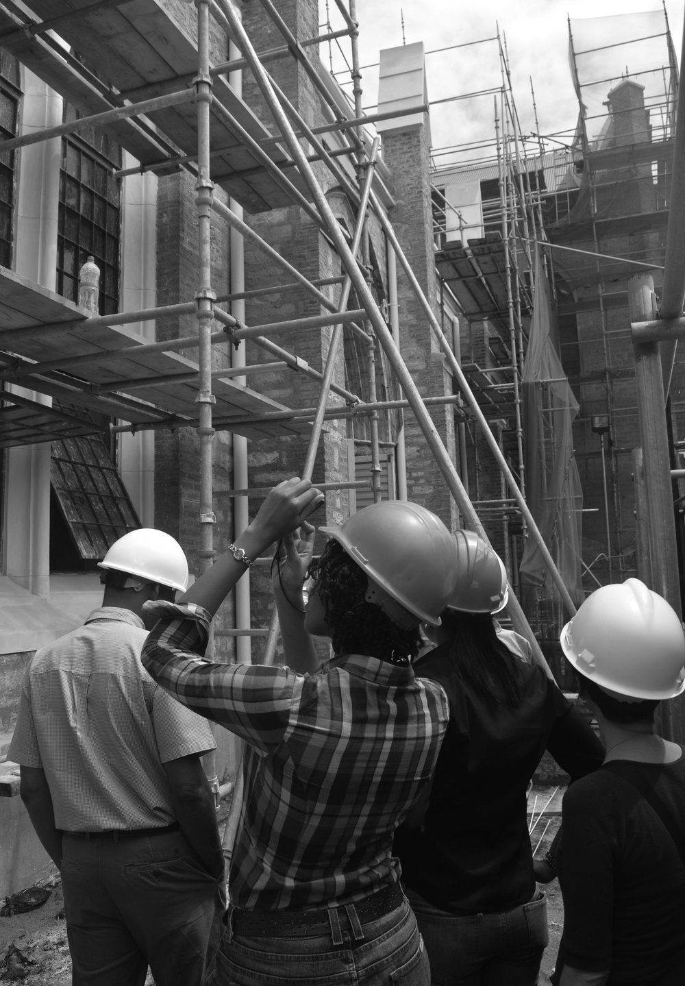 Me, and a team of architects on a site tour - Photo by Adrian Gittens