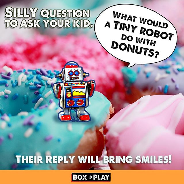 Instead of giving you child a screen to keep them busy, why not ask them a creative question? I will get both of you laughing and talking.😎😂🚗 Have fun - Box of Play . . #Robots #storystarter #donuts #SharonMcCutcheon #storystarter #funmom#fundad #funfamily #game #carride#talking #familygamenight #boardgames#daddy #mommyandme #momlife#creativewriting #creative #drawing#illustration #familytime❤️ #questions#creativeplay #silly #sillygames#creativekids #kidgames #kidfun #momblogger #playmatters