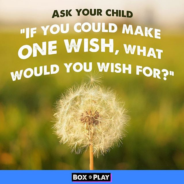 Have you ever asked you kid what he wishes for? The answers might surprise you! Have fun - Box of Play . . #wish #wishes #dandylion #dream#onewish  #storystarter #funmom#fundad #funfamily #game #carride#talking #familygamenight #boardgames#daddy #mommyandme #momlife#creativewriting #creative #drawing#illustration #familytime❤️ #questions#creativeplay #silly #sillygames#creativekids #kidgames