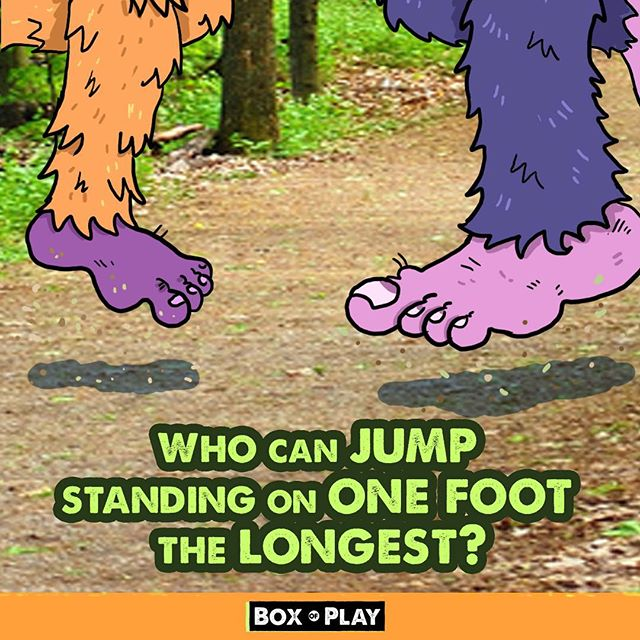 This one is more challenging than is seems! Have fun - Box of Play . .  #Fitmom #funmom#fundad #funfamily #game #familygamenight #boardgames#daddy #mommyandme #momlife #drawing#illustration #familytime❤️ #questions#creativeplay #silly #sillygames#creativekids #kidgames#jump #jumpgamestrong #onefoot #bigfoot #bigfootgames