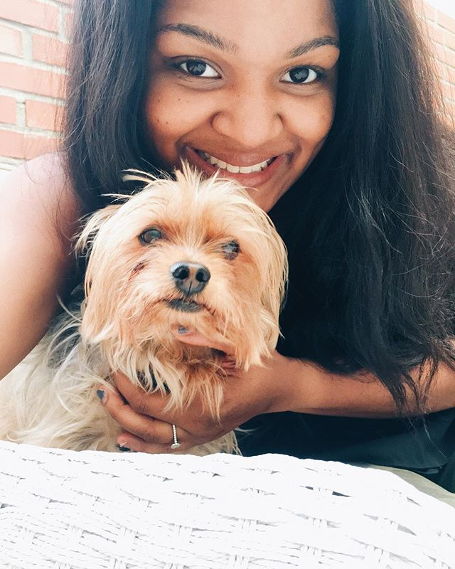 Happy Saturday! This is me and my fur child looking ruff. I didn't really like this photo when I first took it! Mainly because I'm holding my dog to look at the camera(he was distracted)!! I have always wanted to make him an Instagram and I did! Go follow @thatyorkienoah to see the crazy shenanigans of a 10 year old Yorkie! . . . #dogsofinstagram #yorkiesofinstagram #yorkie #mydogiscutest #ificantbringmydogimnotgoing #saturdaydog #dogdaysofsummer #lifeisruff #thatyorkienoah