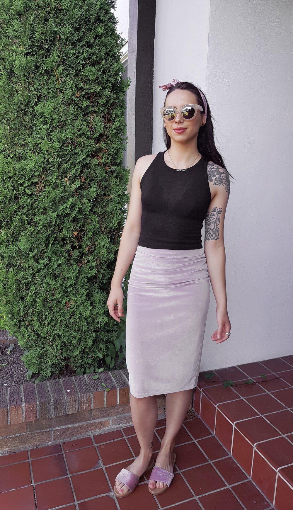 TUESDAY - Aritzia top & skirt, Aldo slides, H&M head scarf, Cheap Monday sunnies