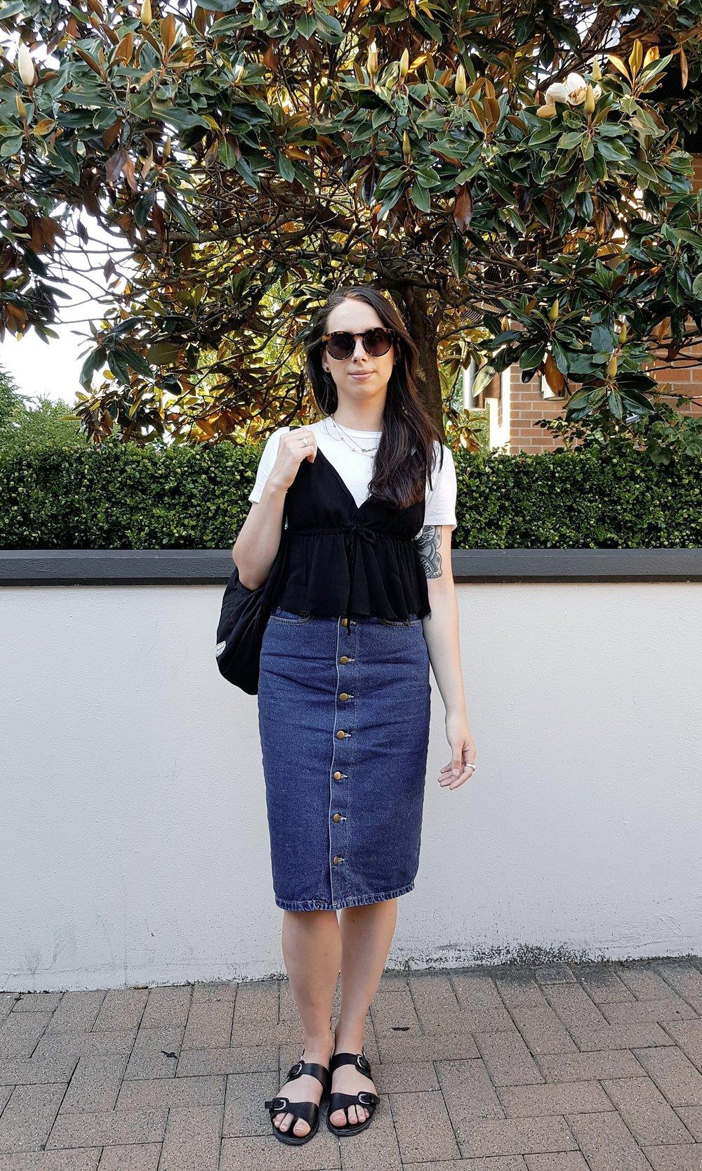 MONDAY - Zara tee, Brandy Melville cami, American Apparel skirt, Forever 21 sandals, Oak+Fort sunnies