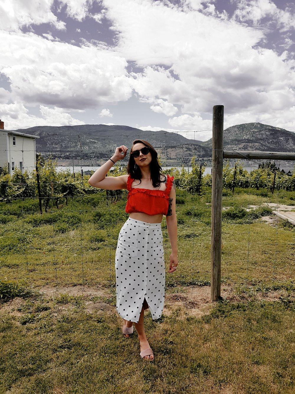 Forever 21 top, skirt and earrings, Oak+Fort sunnies, Aldo slides