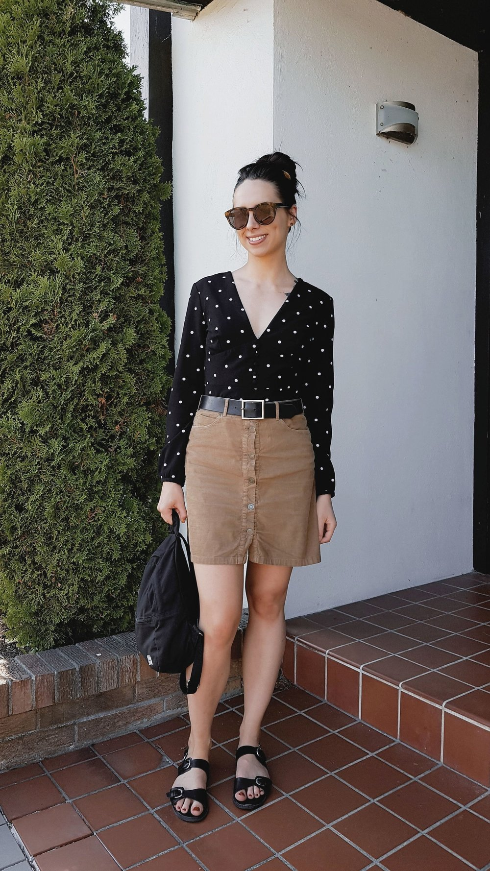 THURSDAY - Dynamite blouse, Zara skirt, Forever 21 sandals, Herschel backpack, Oak+Fort sunnies