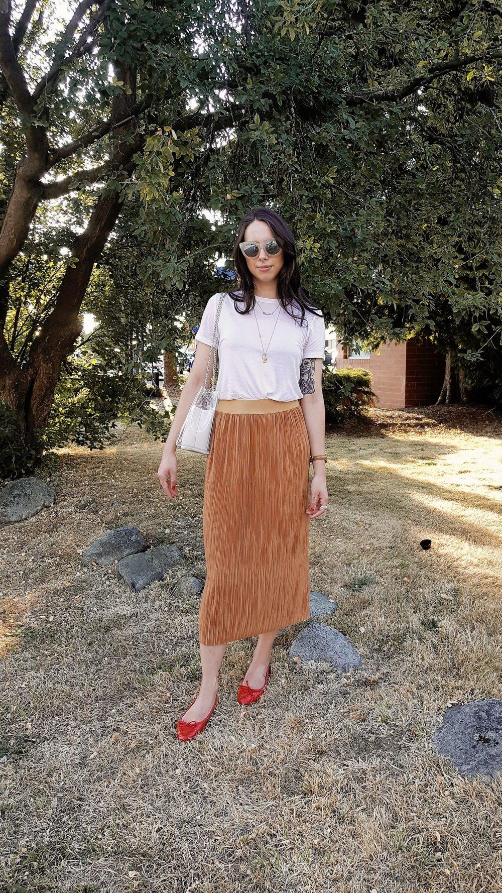 WEDNESDAY - Cheap Monday sunnies, Zara tee & flats, Dynamite skirt