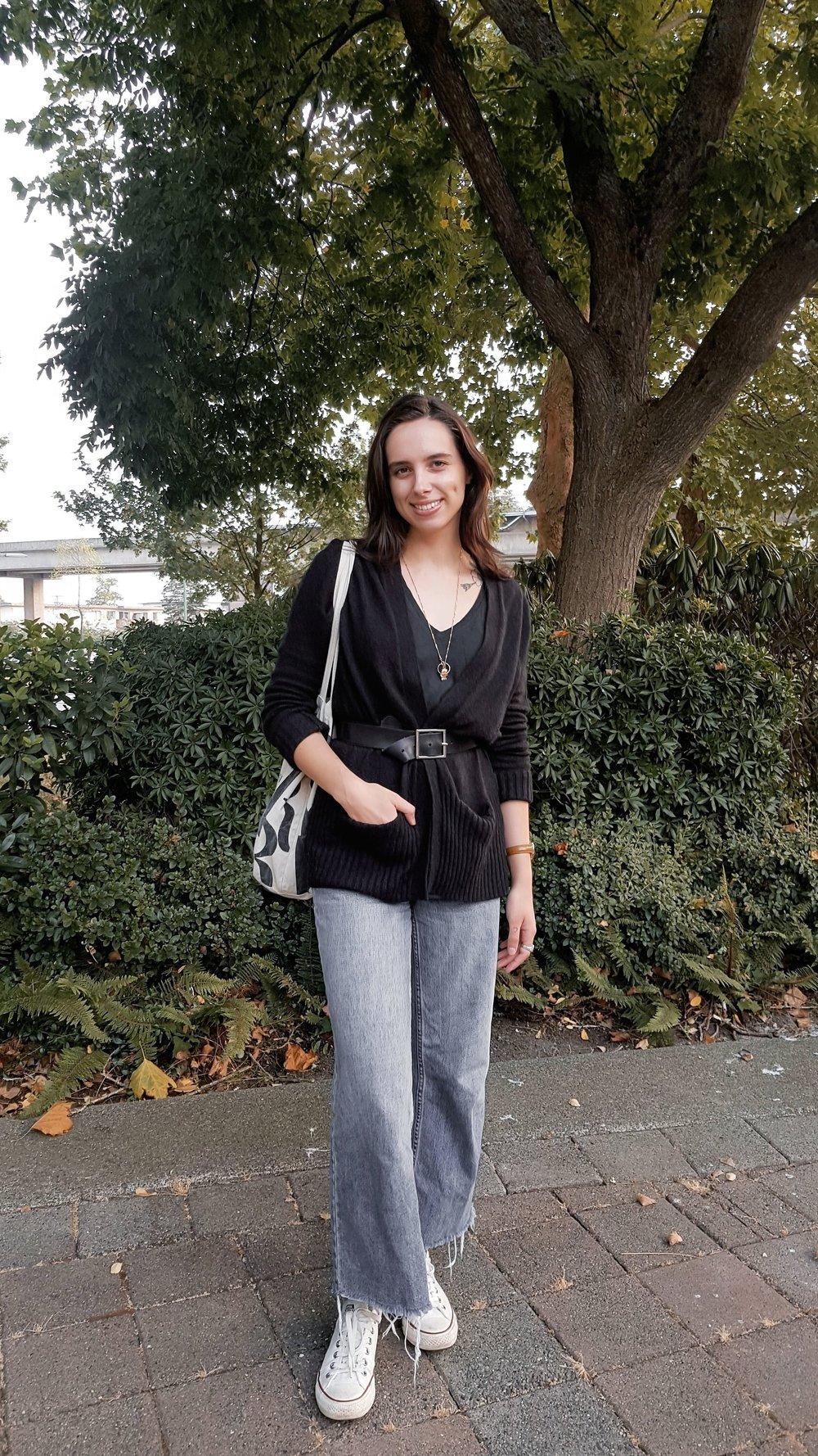 THURSDAY - Aritzia sweater, Zara tee, BDG jeans, Converse sneakers