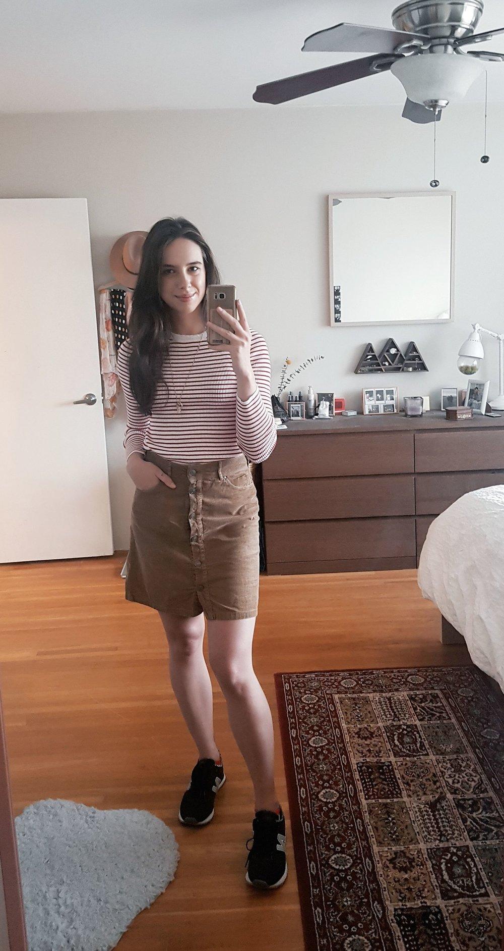 FRIDAY - Forever21 sweater, Zara skirt, New Balance shoes
