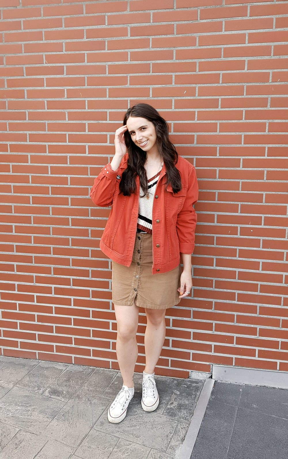 TUESDAY - Urban Outfitters sweater, Zara skirt, vintage Ralph Lauren jacket, Converse shoes
