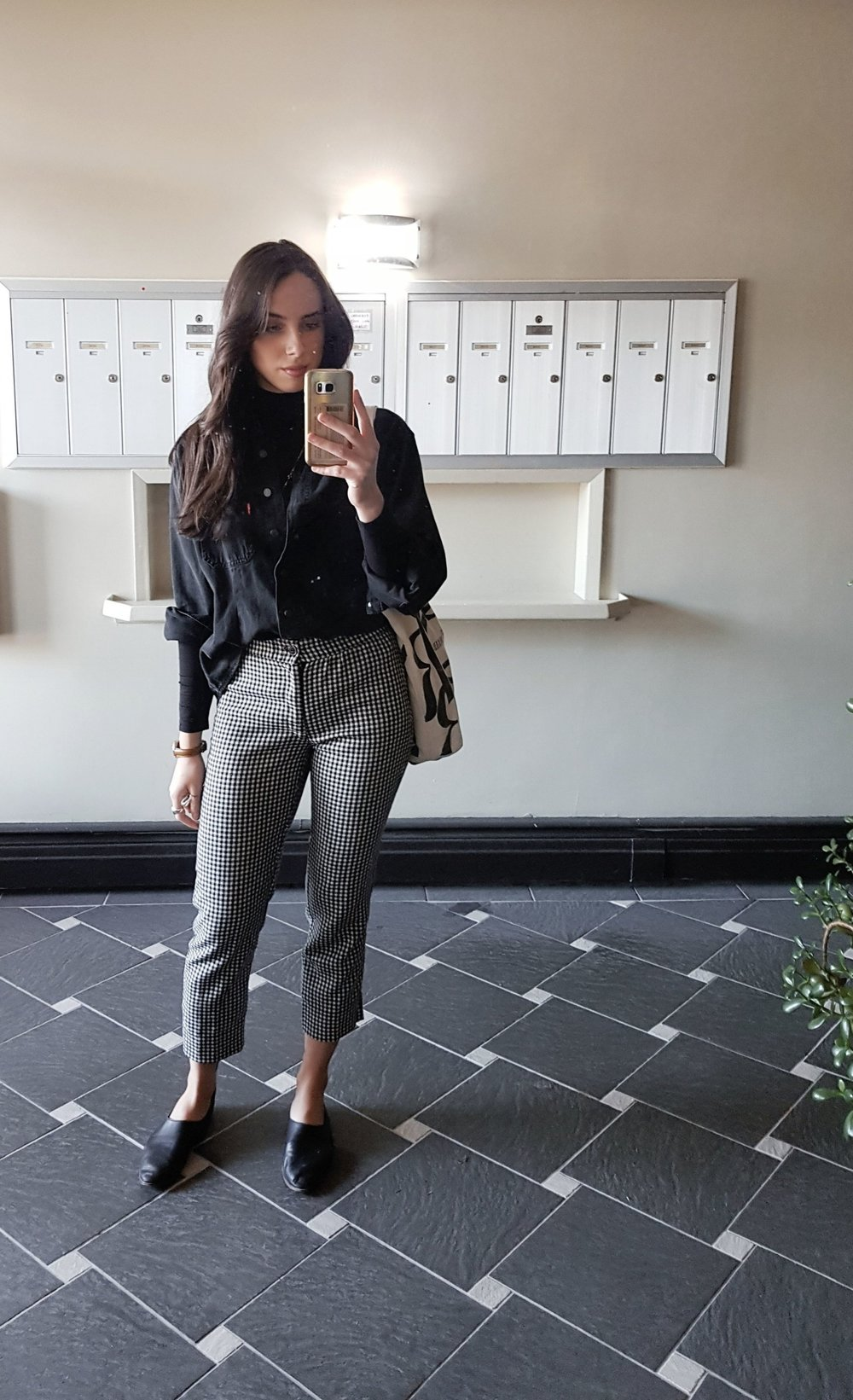 TUESDAY - Dynamite turtleneck, Levis denim shirt (I found it left behind at one of my old apartments), Zumiez pants, Zara shoes