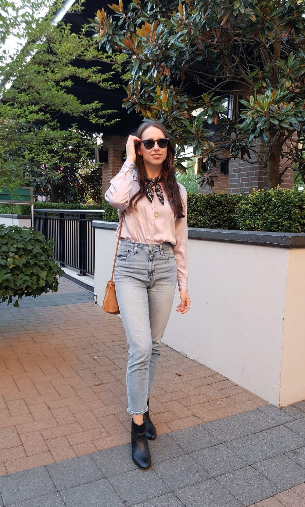 THURSDAY - vintage silk blouse, BDG jeans, H&M scarf, Zara purse