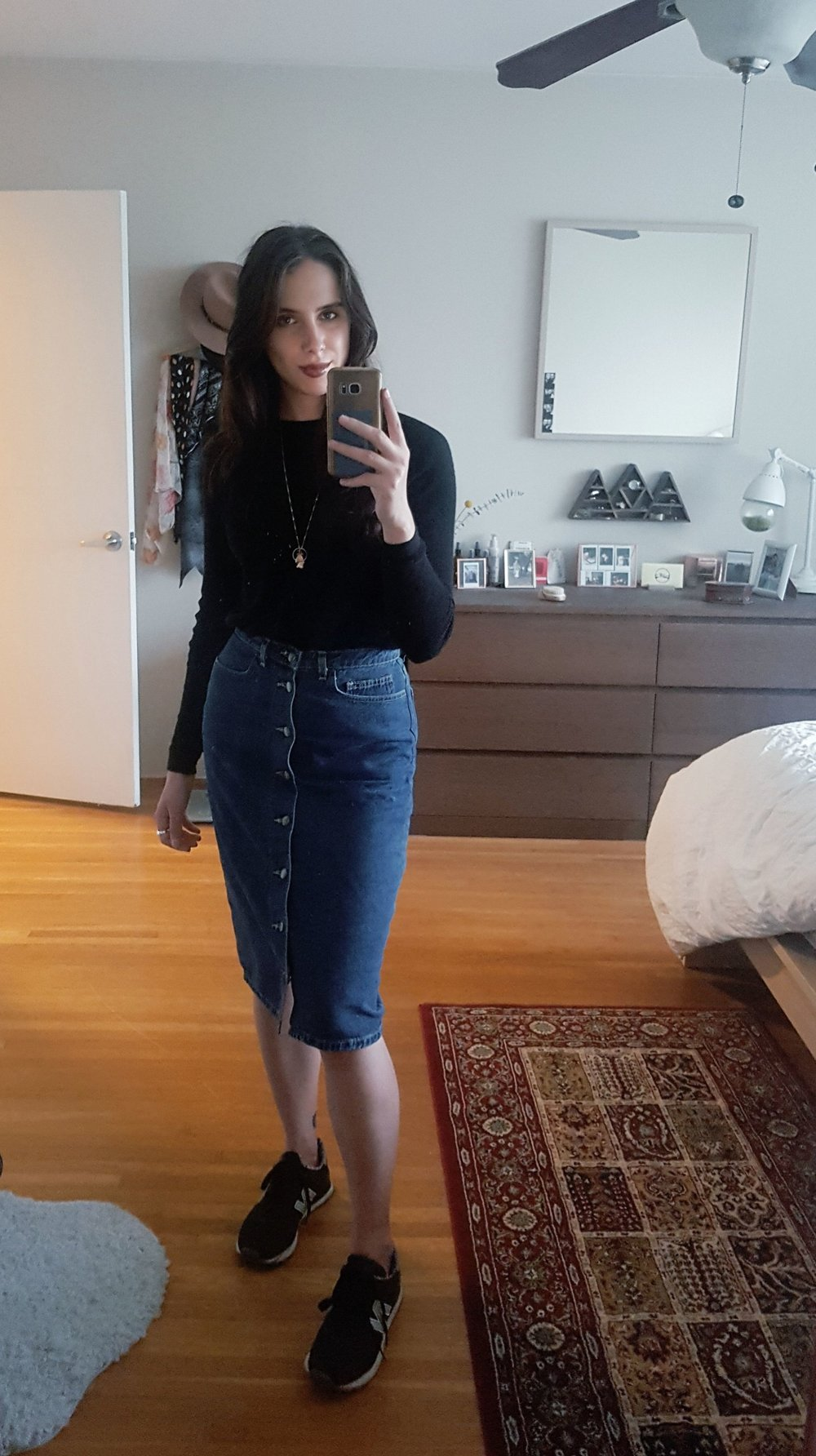 FRIDAY - Born A Bad Seed sweater, American Apparel skirt, New Balance shoes