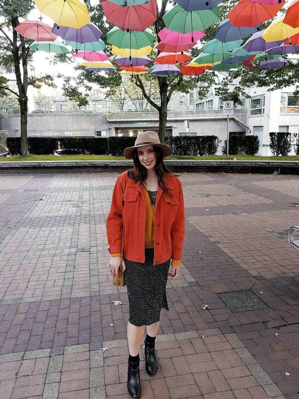 MONDAY - Dynamite dress, Ralph Lauren jacket, Urban Outfitters hat, Zara purse, sweater bought at Winners