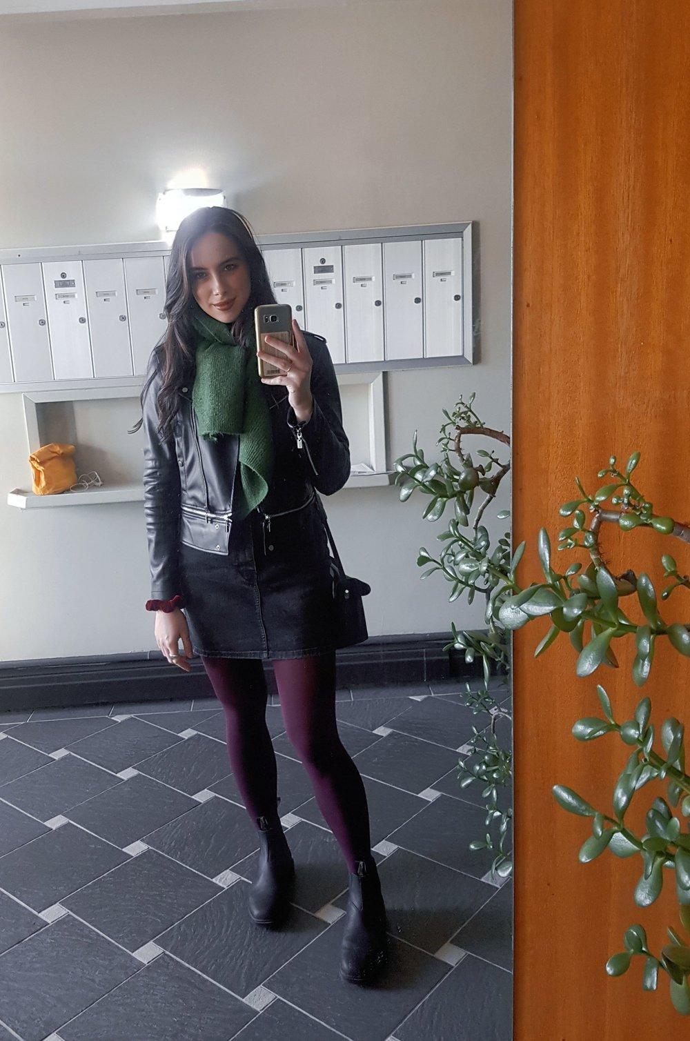 WEDNESDAY - Zara jacket & skirt, 8th&Main scarf, Blundstone boots