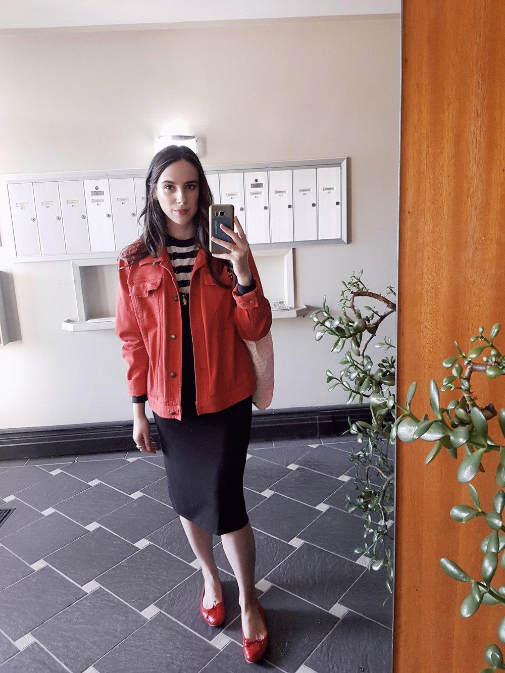 WEDNESDAY - Brandy Melville shirt, Aritzia dress, vintage Ralph Lauren jacket, Zara flats
