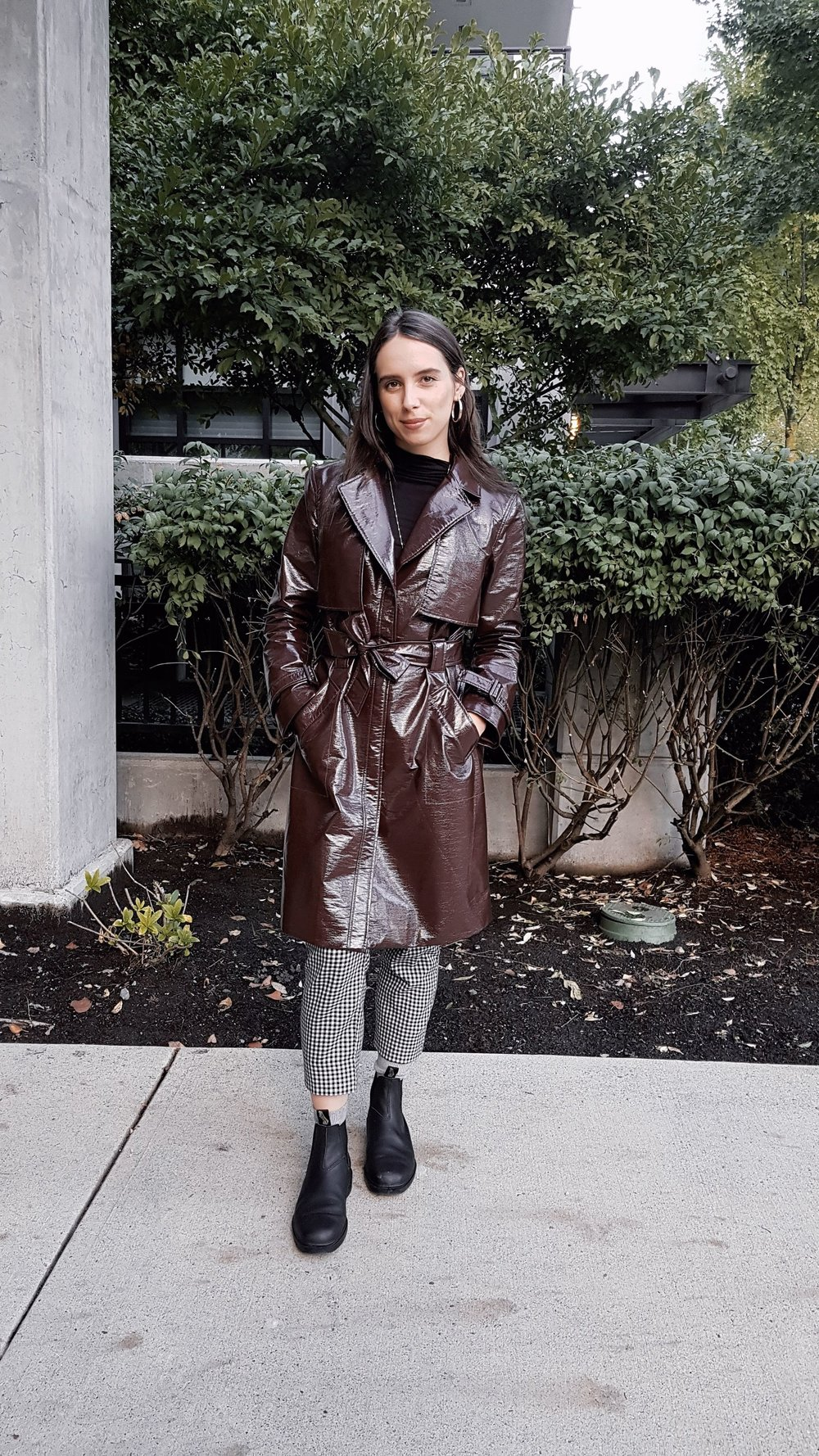MONDAY - Guess by Marciano trench coat, Dynamite turtleneck, Zumiez pants, Blundstone boots