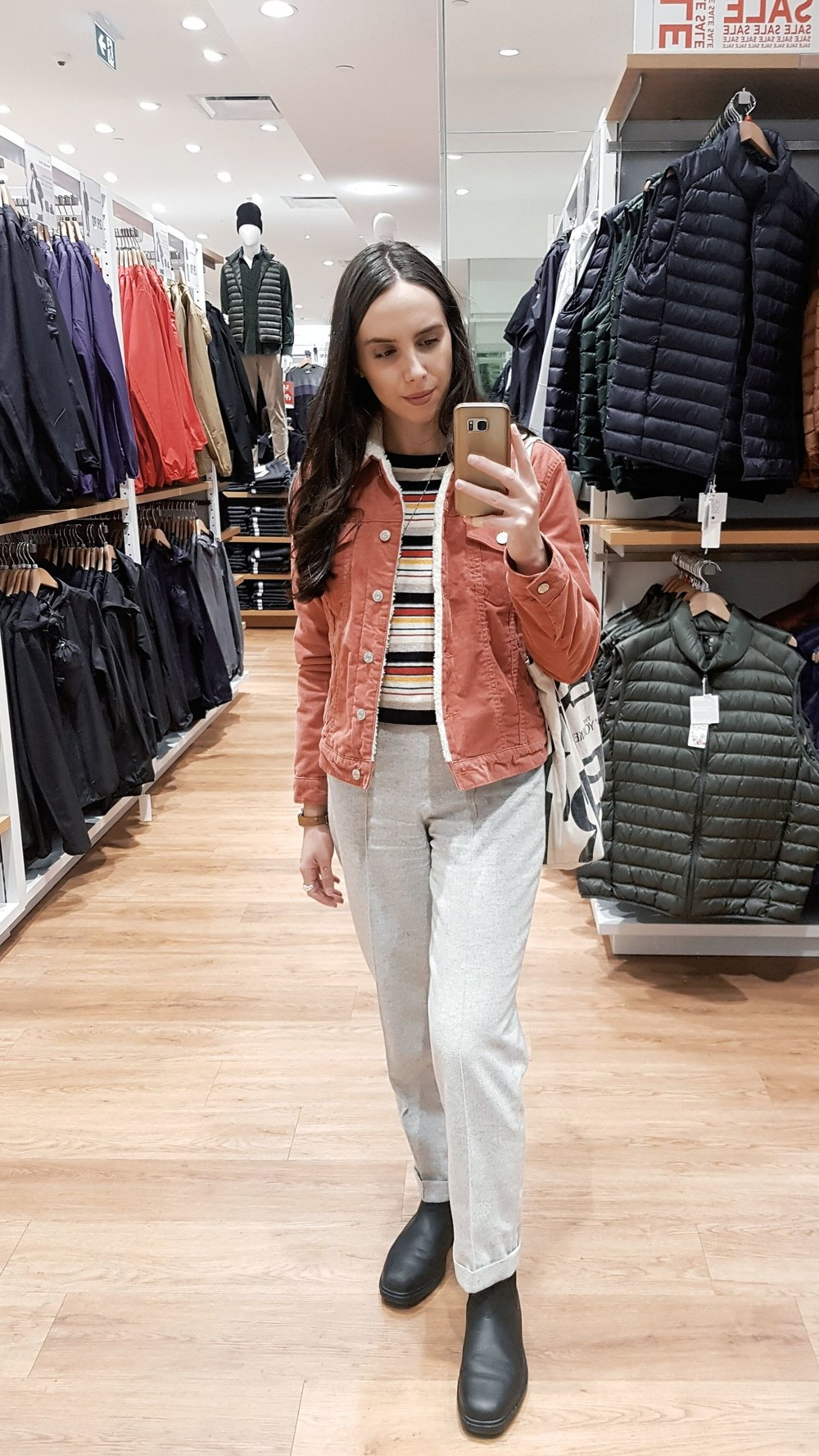 FRIDAY - Forever21 sweater, Gap corduroy jacket, wool trousers bought in Russia, Blundstone boots.Jacob had to work late and didn't take my picture so here I am, in Uniqlo mirror at the mall lol