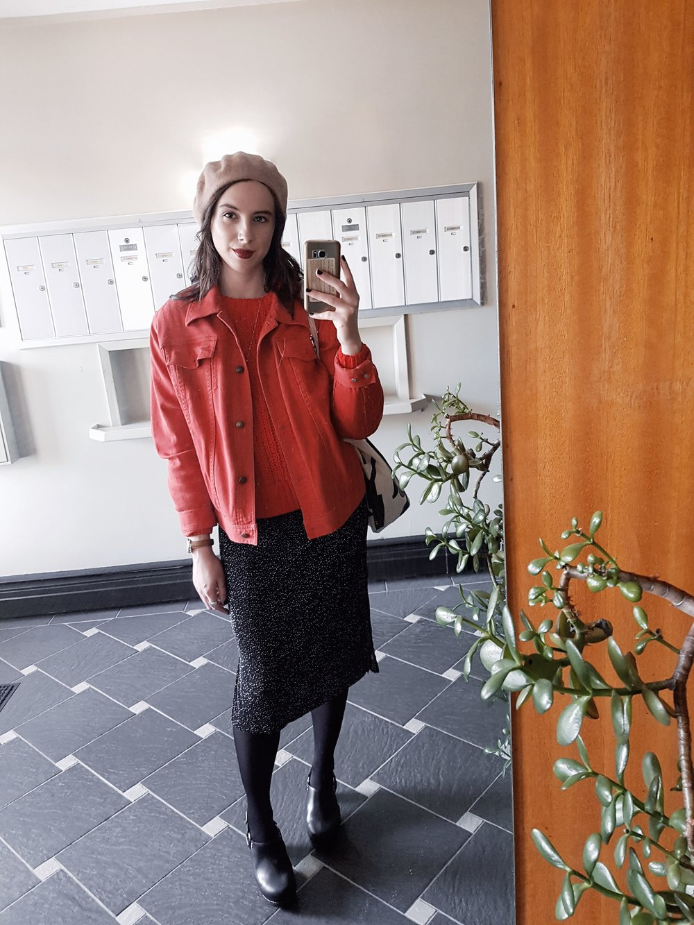 THURSDAY - H&M sweater, vintage Ralph Lauren denim jacket, Dynamite dress, Jeffrey Campbell shoes, Little Burgundy beret