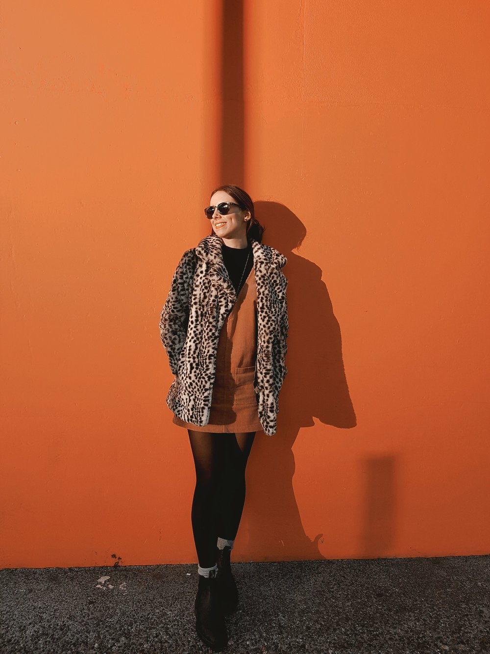 MONDAY - Dynamite coat, Forever21 corduroy dress, Dynamite turtleneck, Blundstone boots