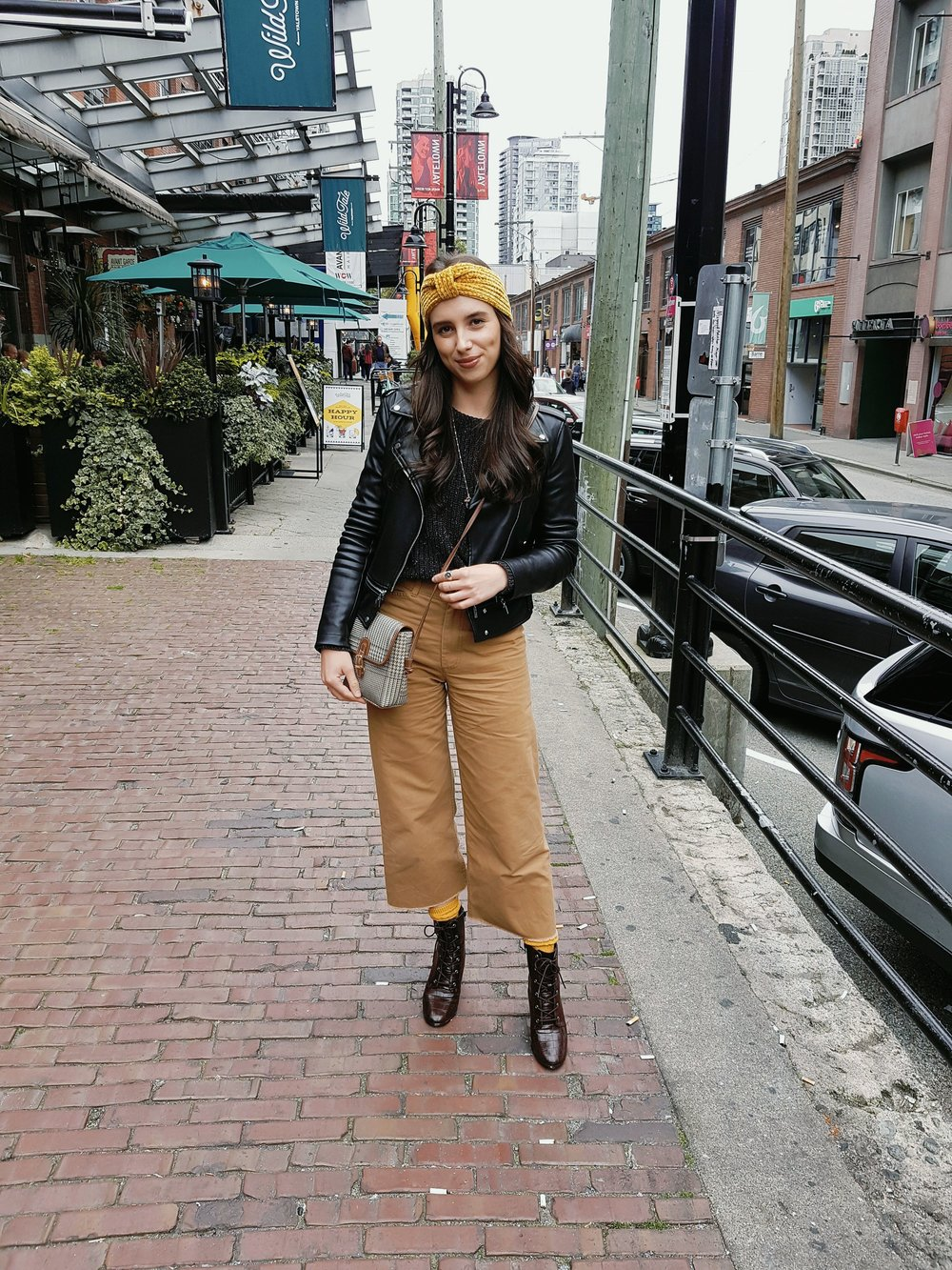 Forever21  headwrap , socks & boots, American Apparel sweater, Aritzia Community pants, Zara jacket, vintage purse
