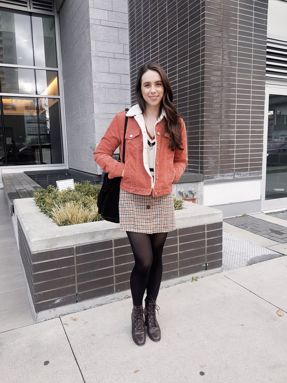 TUESDAY - Gap jacket, Urban Outfitters sweater, Zara dress, Forever21 boots