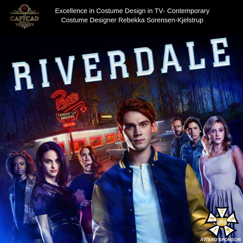Riverdale: 303 Chapter Thirty-eight, As Above, So Below - Costume Designer: Rebekka Sorensen-KjelstrupAssistant Designers: Maria Tyson & Andrea Hakesley, Coordinator: Ren Boggio, Assistant Coordinator: Fiona Magee, Prep Costumers: Carmen Ferguson & Marni Fernandes, Lead Shopper : Tammy Joe, Shopper: Yordanos Isack, Truck Supervisor: Shannon Wilson, Assistant Truck Supervisor: Stephanie Pols, Lead Seamstress : Lore Penner, Seamstresses: Tricia Boyko & Norma Bowen, BG Coordinator: Karen Van Es, BG Costumer : Nancy Jones, Set Supervisors: Magdalena Shenher & Talia Bargero, Assistant Set Supervisor: Adam Reinsman