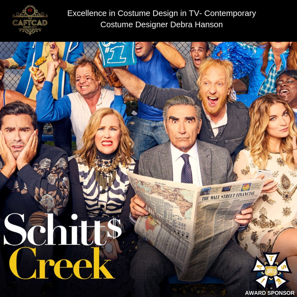 Schitt's Creek: 405 RIP Moira Rose - Costume Designer: Debra HansonAssistant Designer: Darci Cheyne, Set Supervisor: Peter Webster, Buyer: Frances Cabezas Miller, On Set Assistant:Amanda Woods