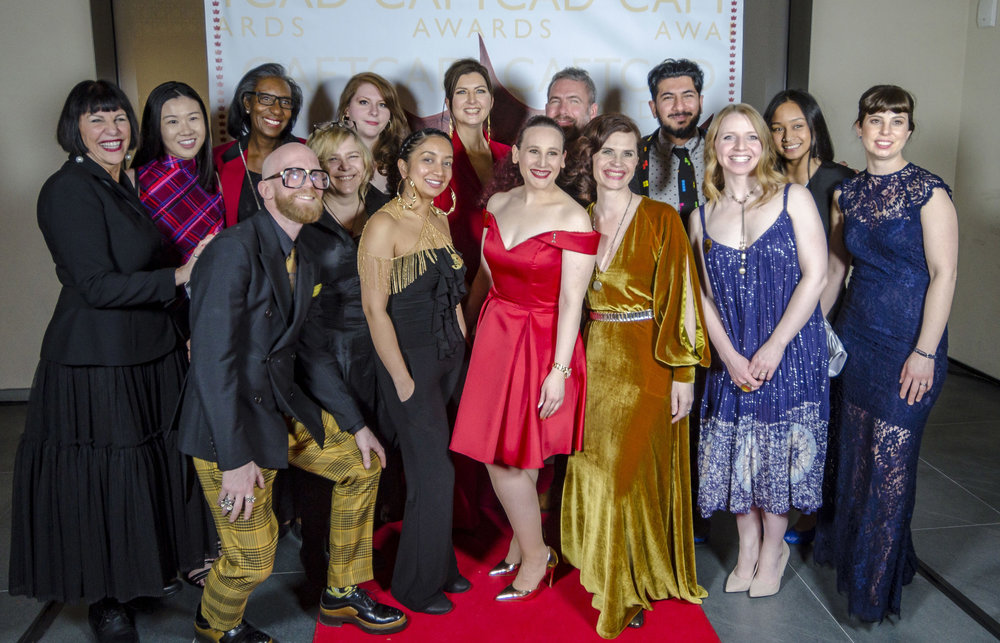 The CAFTCAD Awards Committee: Cynthia Amsden, Melanie Lian, Iris Simpson, Nathan Laws, Charlene Seniuk, Rafaella Rabinovich, Sophie Rickson, Alex Kavanagh, Deanna Sciortino, Greg Kleynhans, Joanna Syrokomla, Semco Salehi, Sarah Friedlander, Alyssa Gallardo, Anna-Claude Biron Rogers. Missing Jo Jin.  Photo Credit Ted Amsden