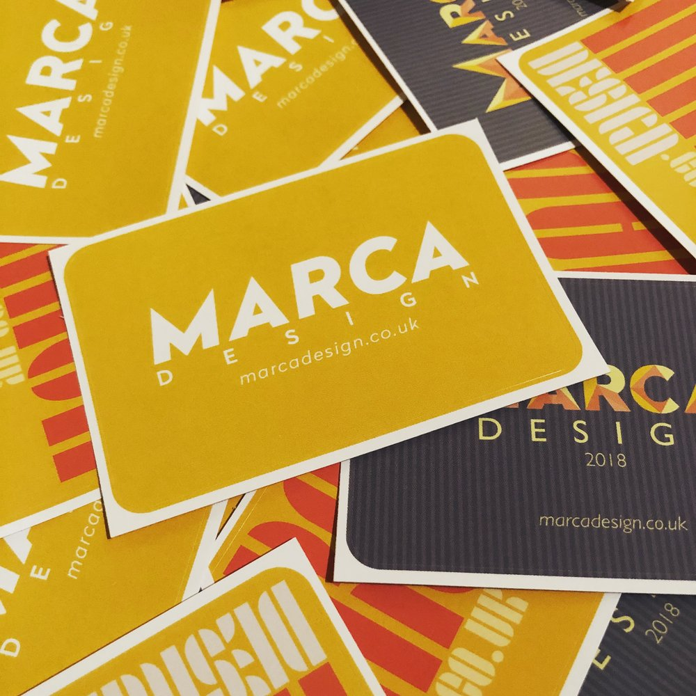 MARCA Design promotional stickers