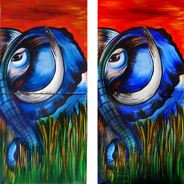 Left: Original painting is on 2 canvases. Right: Print of the painting which comes as a single print.