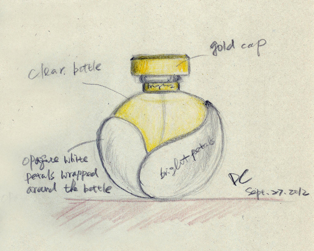 "The ""Bright Petals"" perfume bottle sketch"