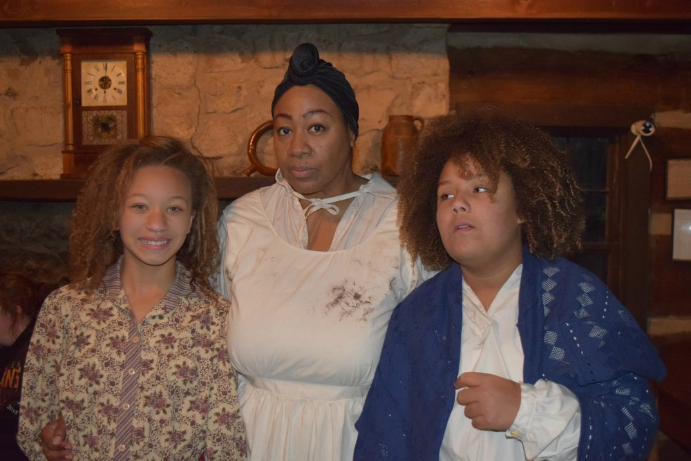 Photo Credit: Angela Caito; Actress Shelia Wofford (center) with actresses Celeste Wilson (left) and DeShayla Foley (right) on location with Into the Wilderness