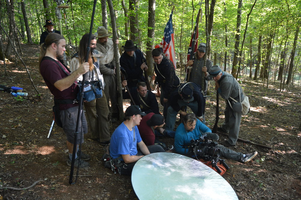 Director Richard DeWitt (Sitting with Sony Venice camera) and crew behind the scenes during production of Into the Wilderness.