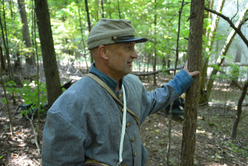 Actor Curt Willis on location during production of Into the Wilderness
