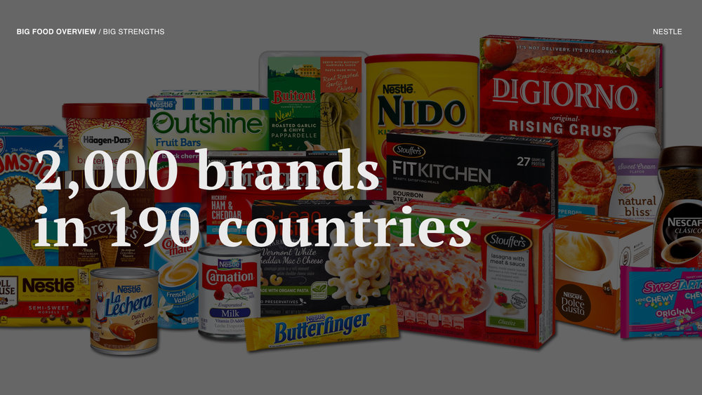 For example, Nestle owns over 2,000 global brands and reaches over 190 countries in the world.