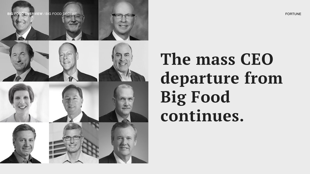 In 2017, 17 CEOs from the largest Big Food companies had either departed, or announced their intention to