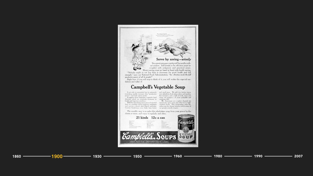 And with the growing desire for more healthy food solutions, Campbell's was born. Due to the immense demand from the World War I soldiers for a nutritious soup, Campbell's introduced what would become an American staple, their Vegetable Beef soup.  Campbell's invented a scientific process for reducing water from the can that revolutionized the soup industry.