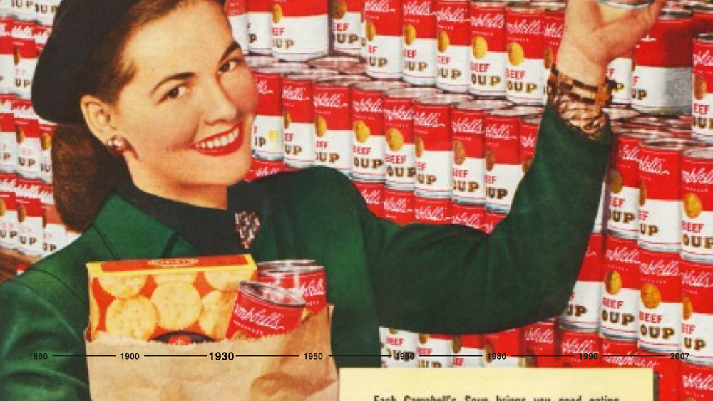 The Big Food brands became nationally recognized and trusted brands. Campbell's sold 16 million cans in a single year, with their condensed soups manufactured at a rate of nearly 40,000 every week. And in 1942, sales topped $100 million for the first time.  Campbell's was not bound to any one income class: a great majority of the people ate Campbell's soup. And with this, America became not only a nation on the crave for breakfast cereal, but a nation of canned soup eaters.