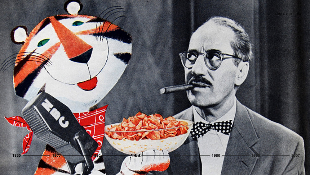 In the 1950s, a time of rock and roll, music, and television, Kellogg's invented Frosted Flakes and its pitchman, Tony the Tiger was born. A symbol of energy and wit that became an instant hit, Tony's packages flew off the shelves and into the homes of the American consumers.